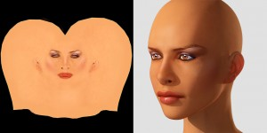 Left: Final skin texture. Right: Test render.